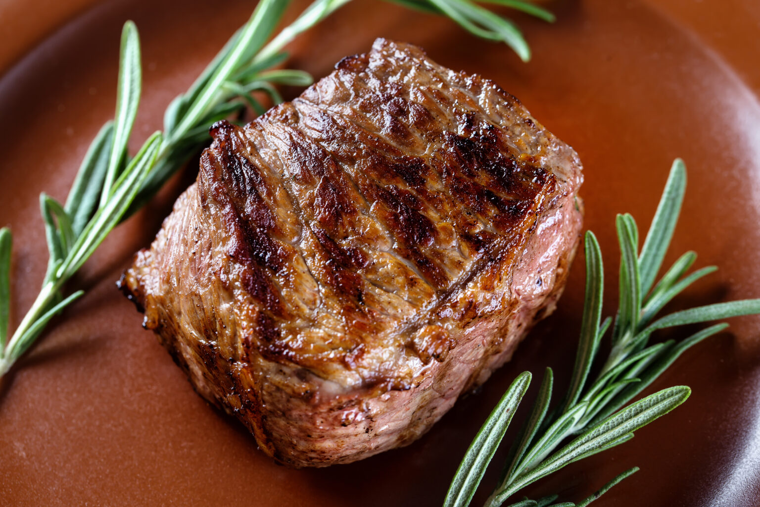 Piece of juicy roast meat with rosemary on a clay plate. The concept of natural food.