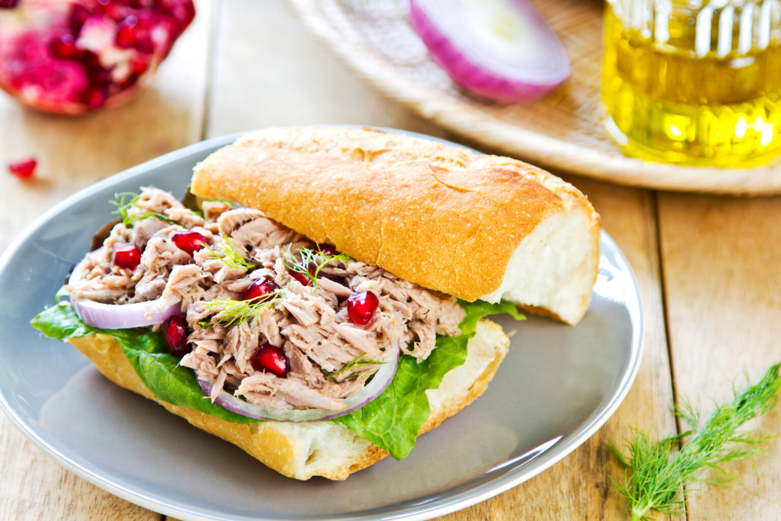 Tuna with Dill and Pomegranate on Baguette sandwich